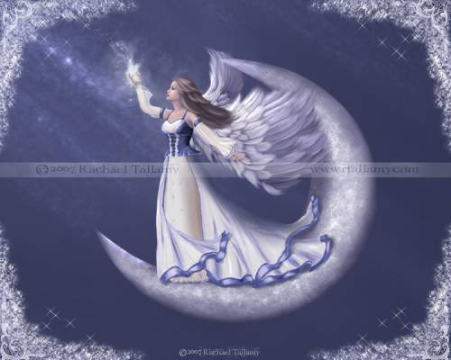 angel on the moon holding star