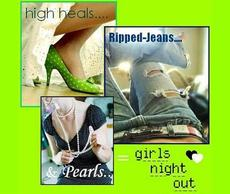 high heals ripped jeans and pearls girls night out