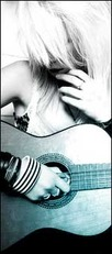 blonde girl playing acoustic guitar