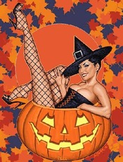 sexy witch in jack o lantern