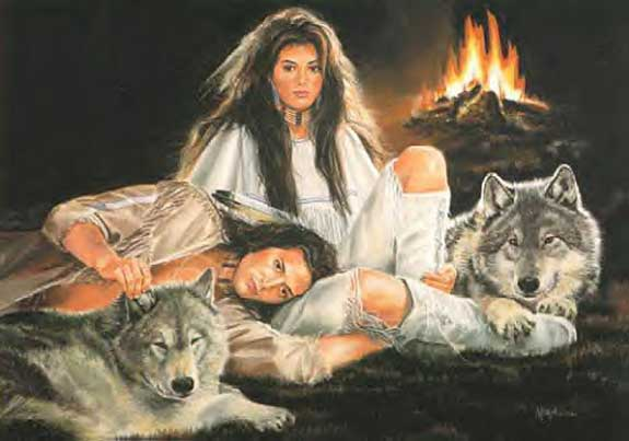 native americans with wolves