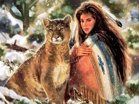 native american woman with big cat