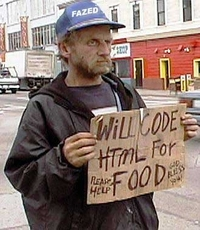 bum will code html for food