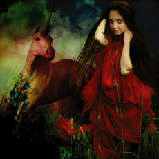unicorn with girl in red dress